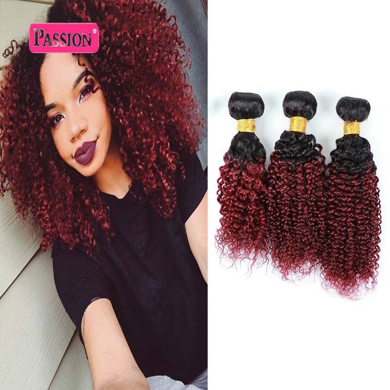 Top Quality 3 Bundles Burgundy Brazilian Ombre Hair Extensions Two