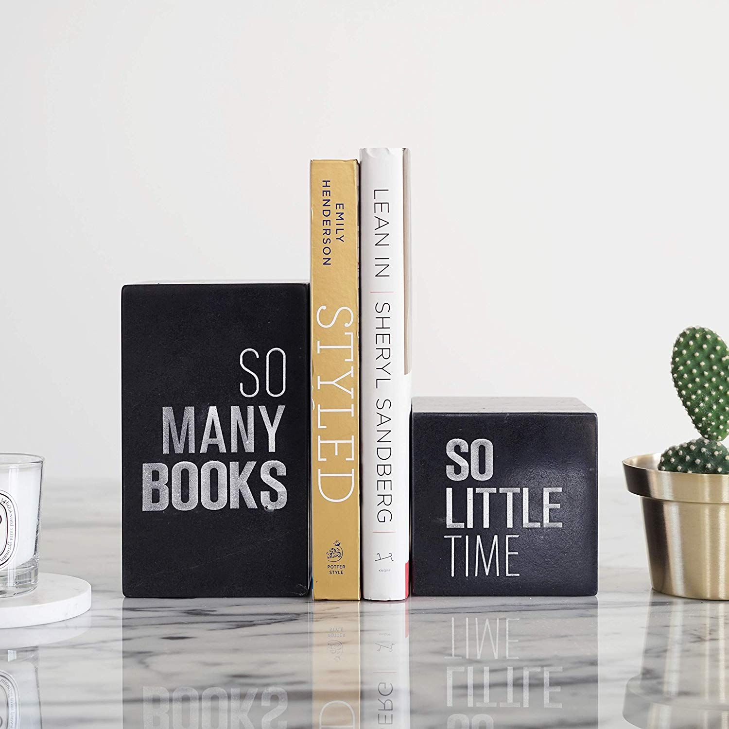 MEDA BLOOMS Black Marble Bookend A Set of 2 Home Office Table Decorative Modern Book Stop//Display Stand Gift Ideas