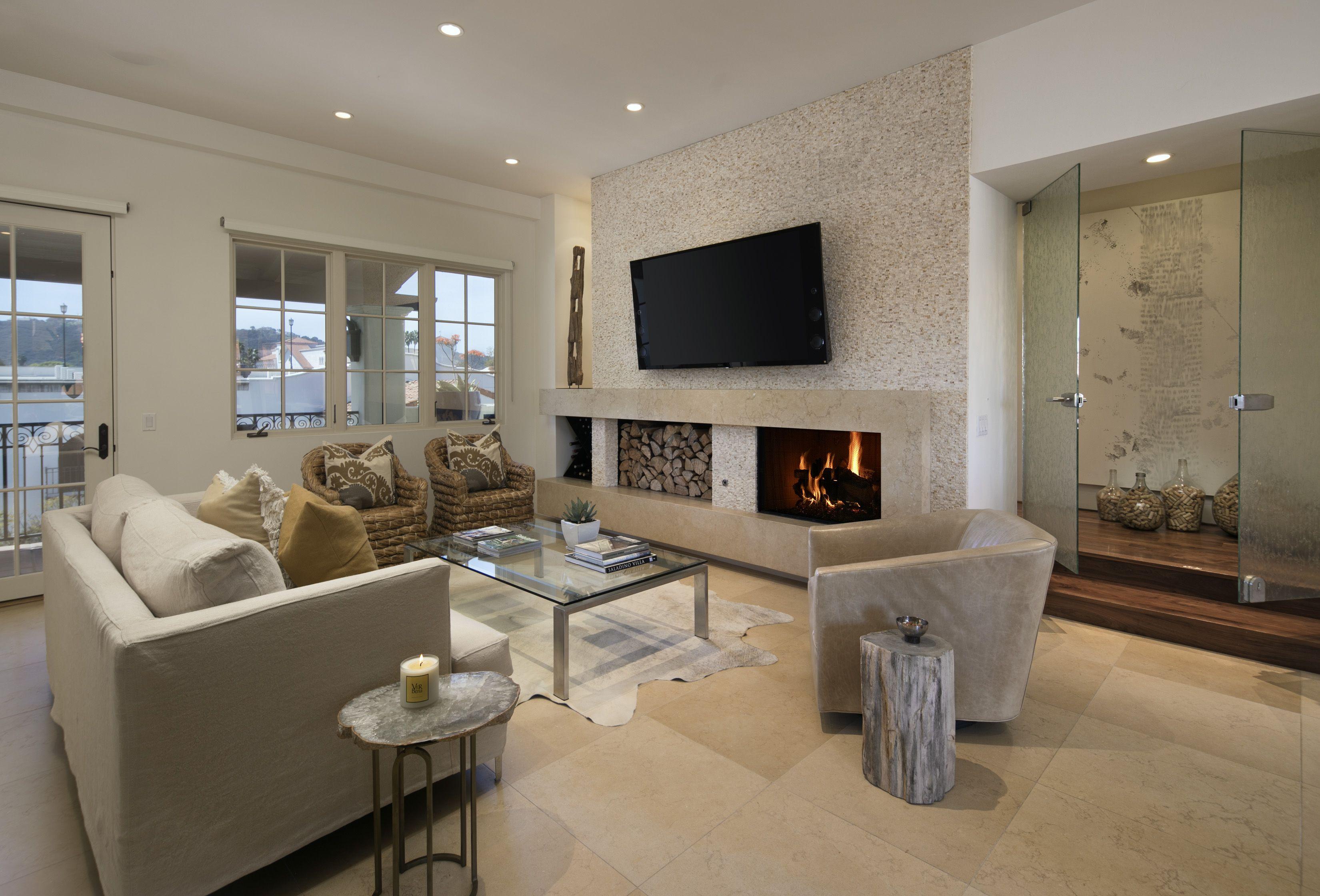 Andrea cambern designer jerusalem mini stacked stone fireplace