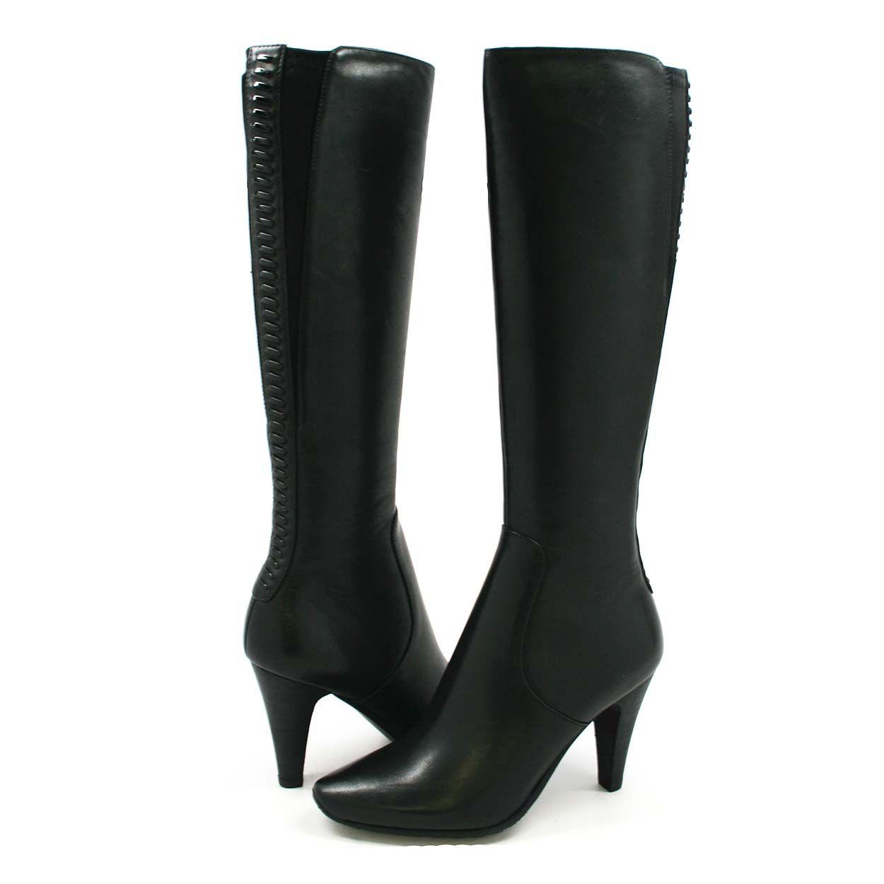 detailed images united kingdom best sale SoleMani Women's Paradise Black Leather Boots Slim Calf ...