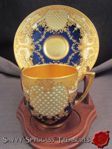 jeeled cup and saucer   ... Coalport Jeweled Heavy Gold Cobalt & Yellow Roses Cup and Saucer Set