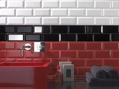 Carrelage metro haut de gamme rouge noir blanc erchoix