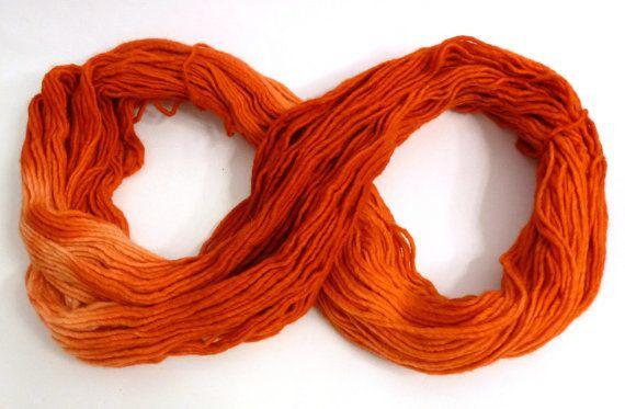 Orange Ombre Merino wool hand dyed yarn soft yarn by feltbasic