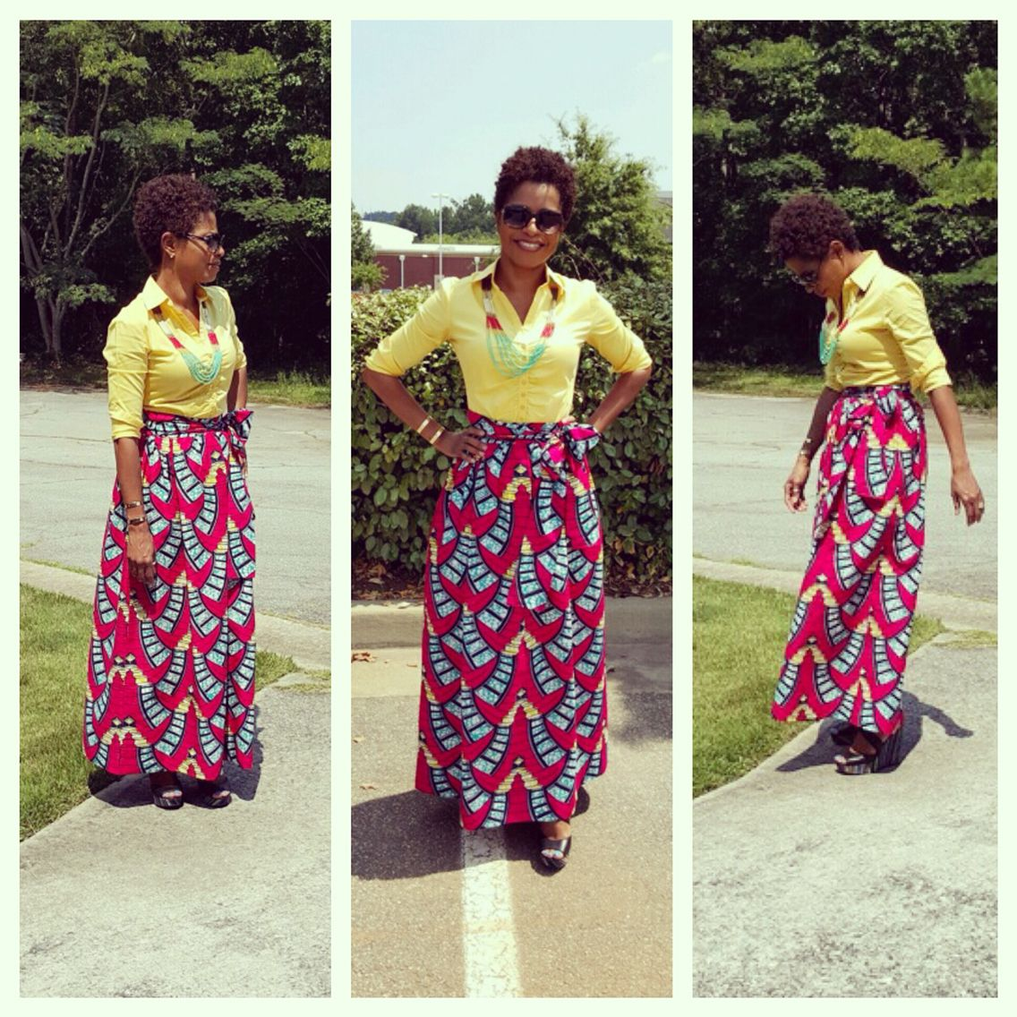 I ❤️ my Chic African Print Maxi Skirt (Red/Turquoise Ladder) Diyanu.com