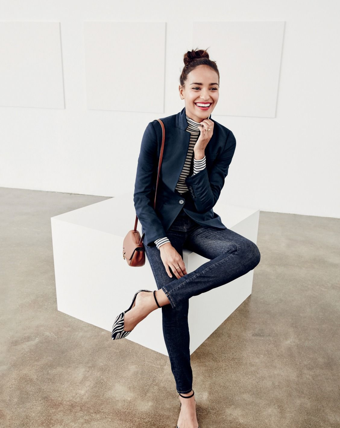 eefef6077e J.Crew women's Regent blazer in navy, tissue turtleneck T-shirt in stripe,  lookout high-rise jean in Resin wash, mini Rider bag and Sadie ankle-strap  flats ...