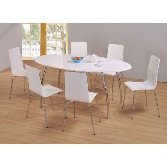 39995 Fiji High Gloss Oval Wooden Dining Table Set With 6 Dining Interesting White Dining Room Table And 6 Chairs 2018