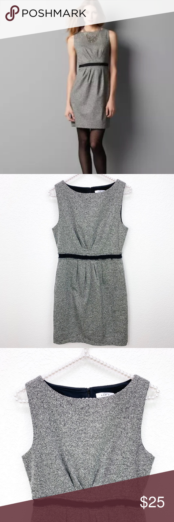 f8e344ae515 Ann Taylor Loft Gray Black Tweed Wool Dress Size 4 Great condition Black  white tweed wool silk blend with stretch Lined (poly) Zip up back No  pockets ...