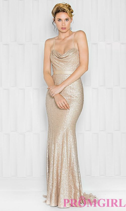 Long Cowl Neck Sequin Spaghetti Strap Prom Dress Evening Dresses