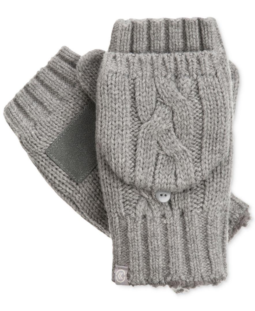 Fingerless gloves isotoner - Isotoner Women S Chunky Cable Knit Flip Top Gloves