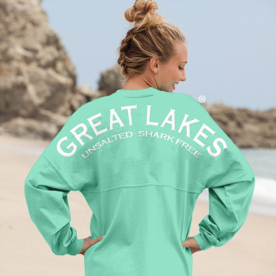 Great Lakes Unsalted · Shark Free - Classic Unisex Long Sleeve, Crew Neck Spirit Football Jersey® Mint-XSM-White