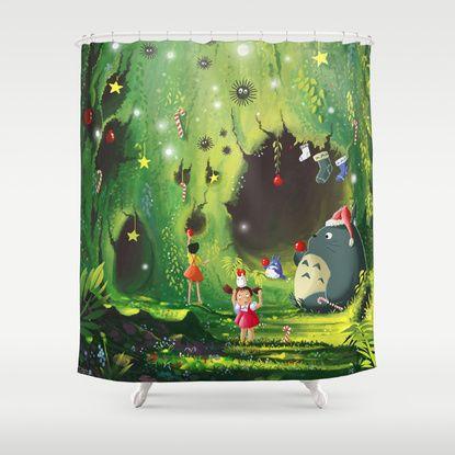 Totoro Christmas Shower Curtain Curtains Bags Studio Ghibli