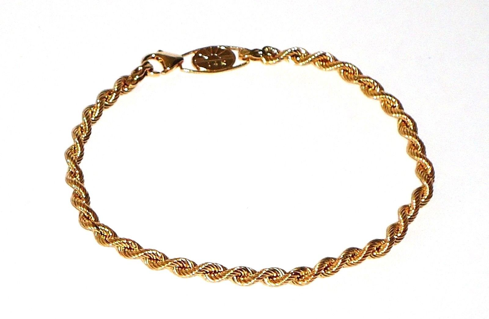 K yellow gold rope bracelet inches new with tags nyt