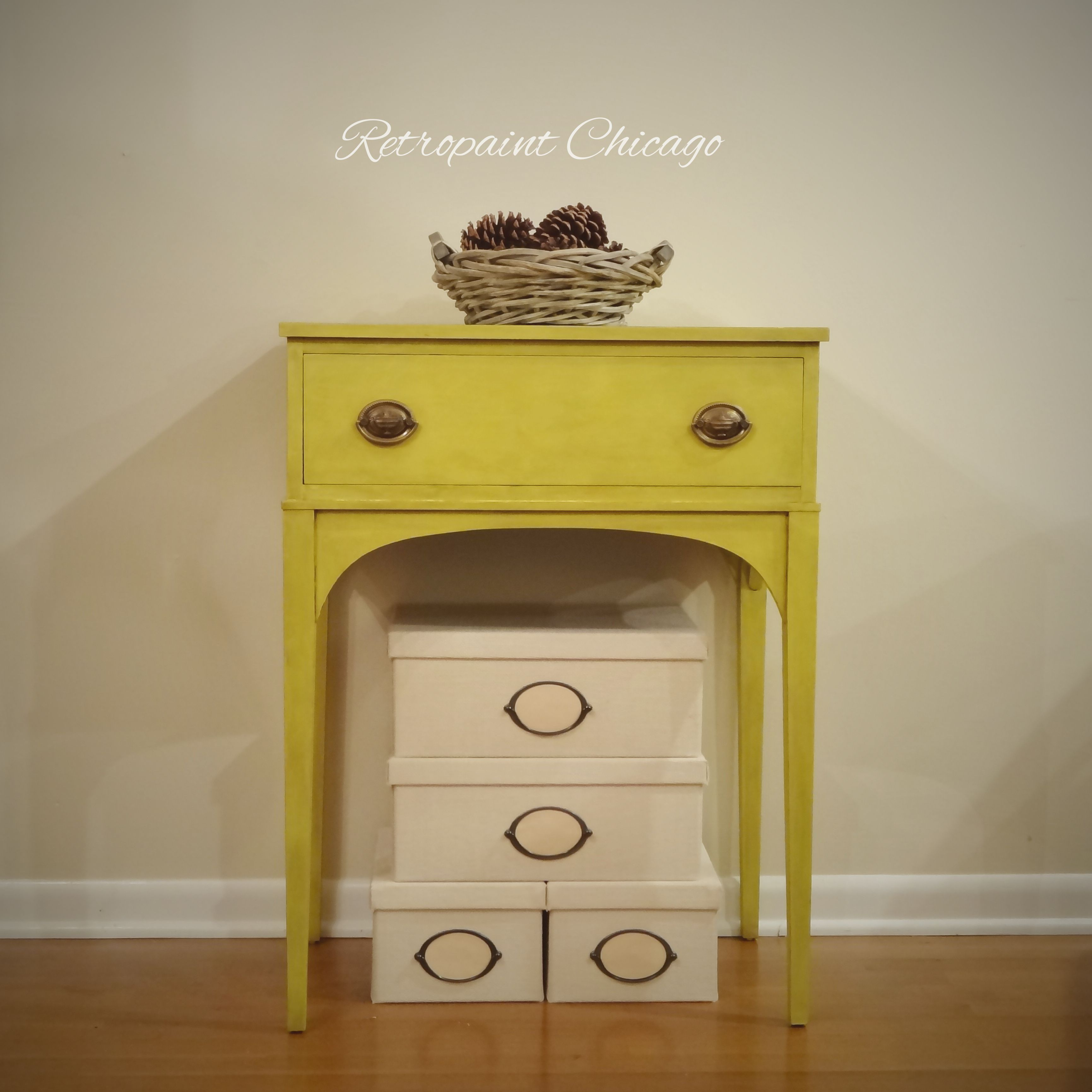 Folk Art Home Decor Chalk Paint End or Side Table in Yellow