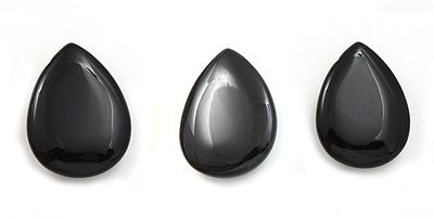 Black Agate Smooth Flat Tear Drop by the piece