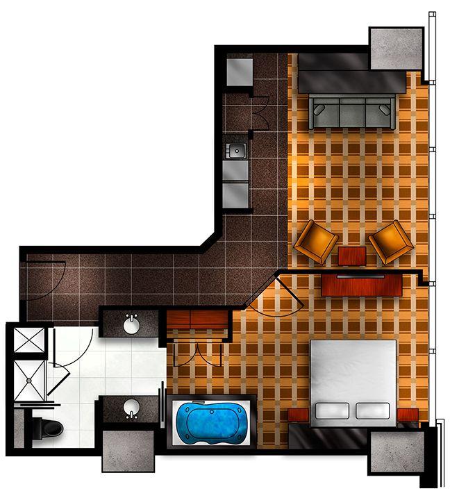 Junior Suite Floor Plan For Elara Hilton Grand Vacations Center