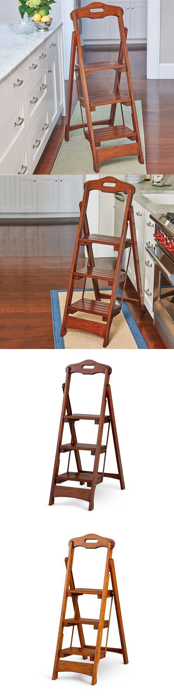 Ladders 112567 Wooden Folding Step Ladder Solid Wood Home Library Kitchen Portable 2 Colors New Buy It Now Onl Home Library Step Ladders House In The Woods