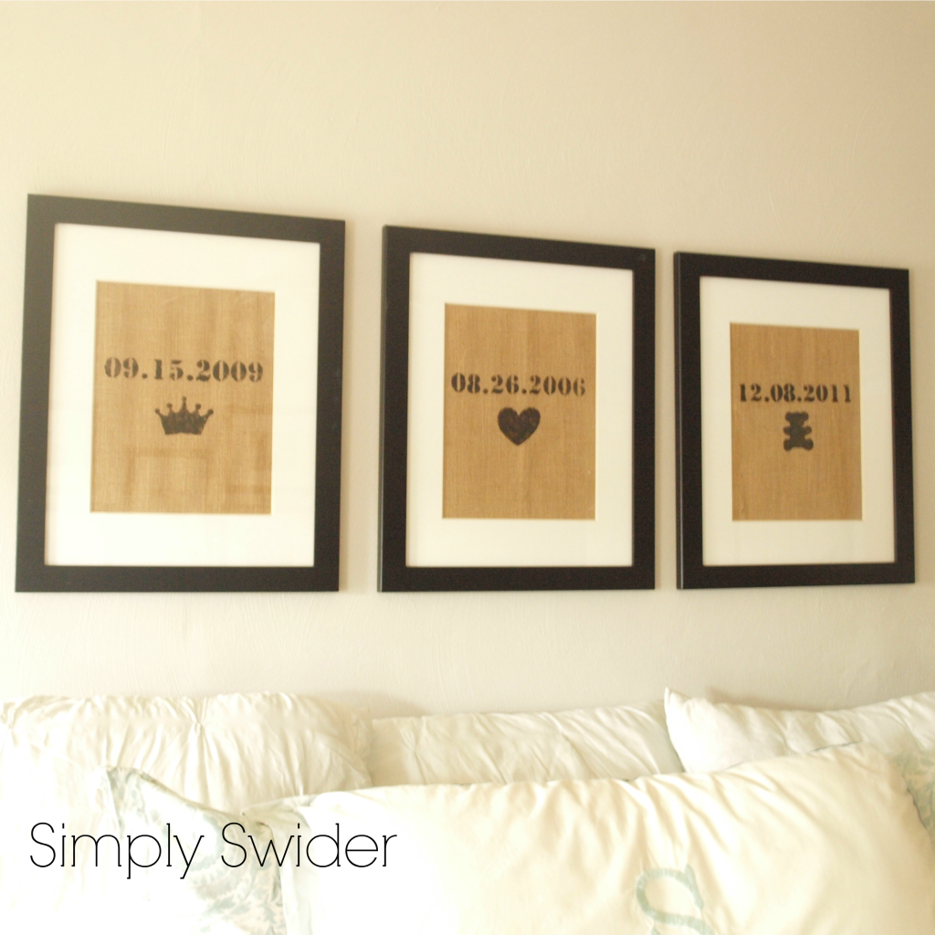 Burlap art in bedroom love the dates and symbols for for Wall art ideas for bedroom