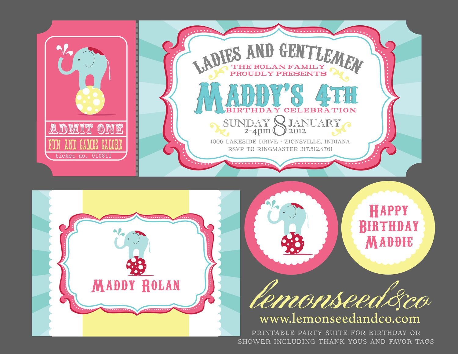Printable DIY Circus Birthday Circus Baby Shower Carnival