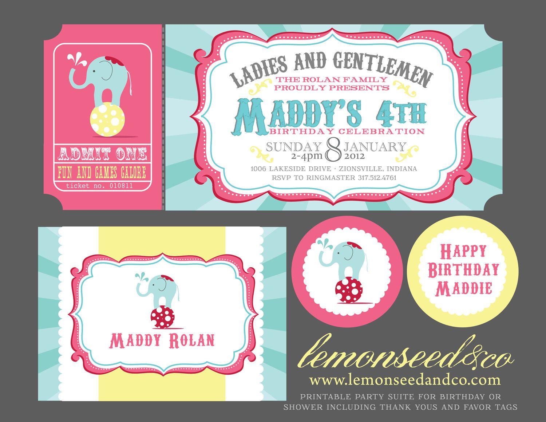 Printable DIY Circus Birthday, Circus Baby Shower, Carnival ...