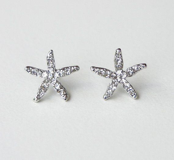 Starfish Earrings. Beach Wedding Jewelry Bridal Accessory Crystal Starfish Stud Earrings on Etsy, $14.00