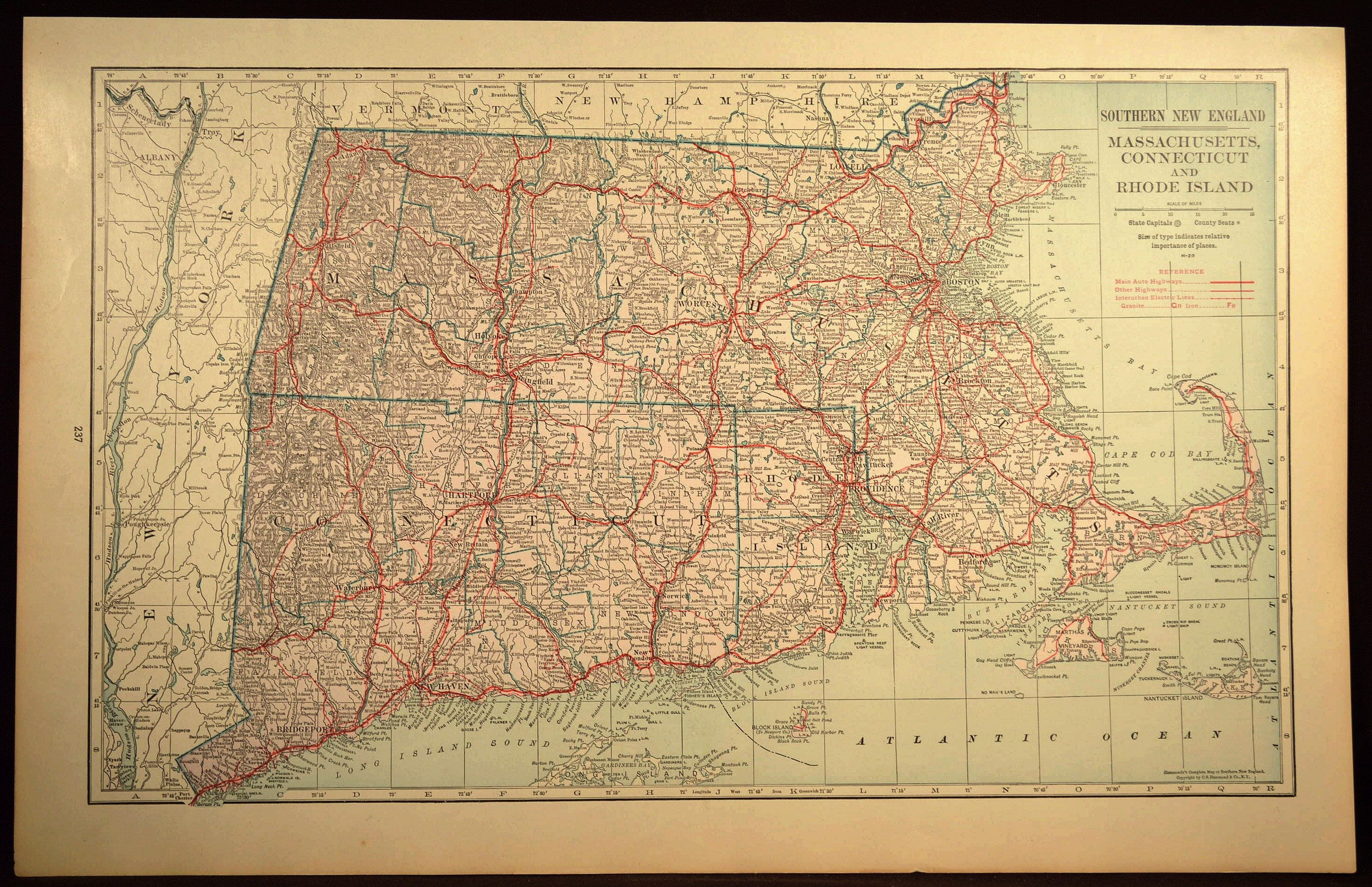 Massachusetts Wall Art LARGE Massachusetts Road Map Highway ...