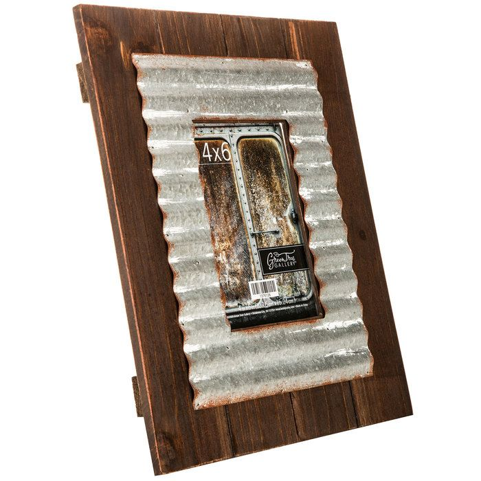 wood plank frame with corrugated metal fillet 4 - Wooden Frames Hobby Lobby