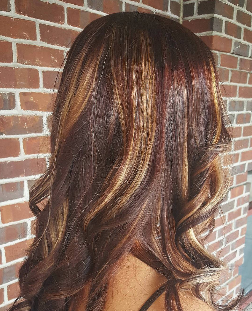 Give your brunette hair color golden tones with painted balayage ...