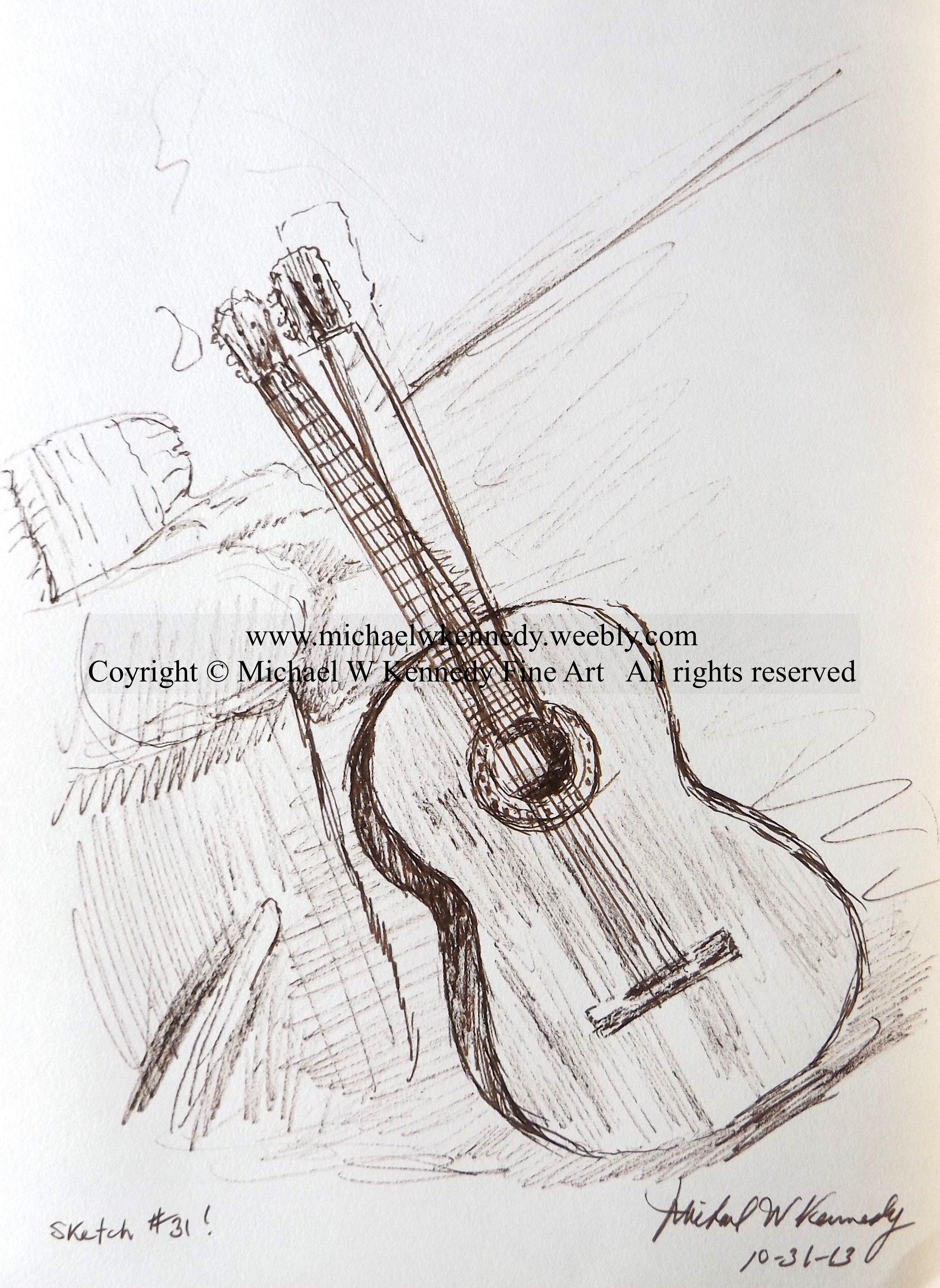 "Permanent Sketch Book: ""Classical Guitar"", 11 X 8.5, Sharpie On Sketch Paper"