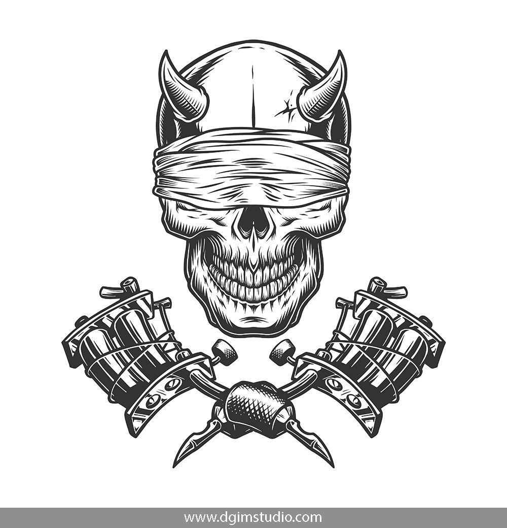 Demons Emblems Collection Tattoo Machine Drawing Vector Logo Design Skull Wallpaper