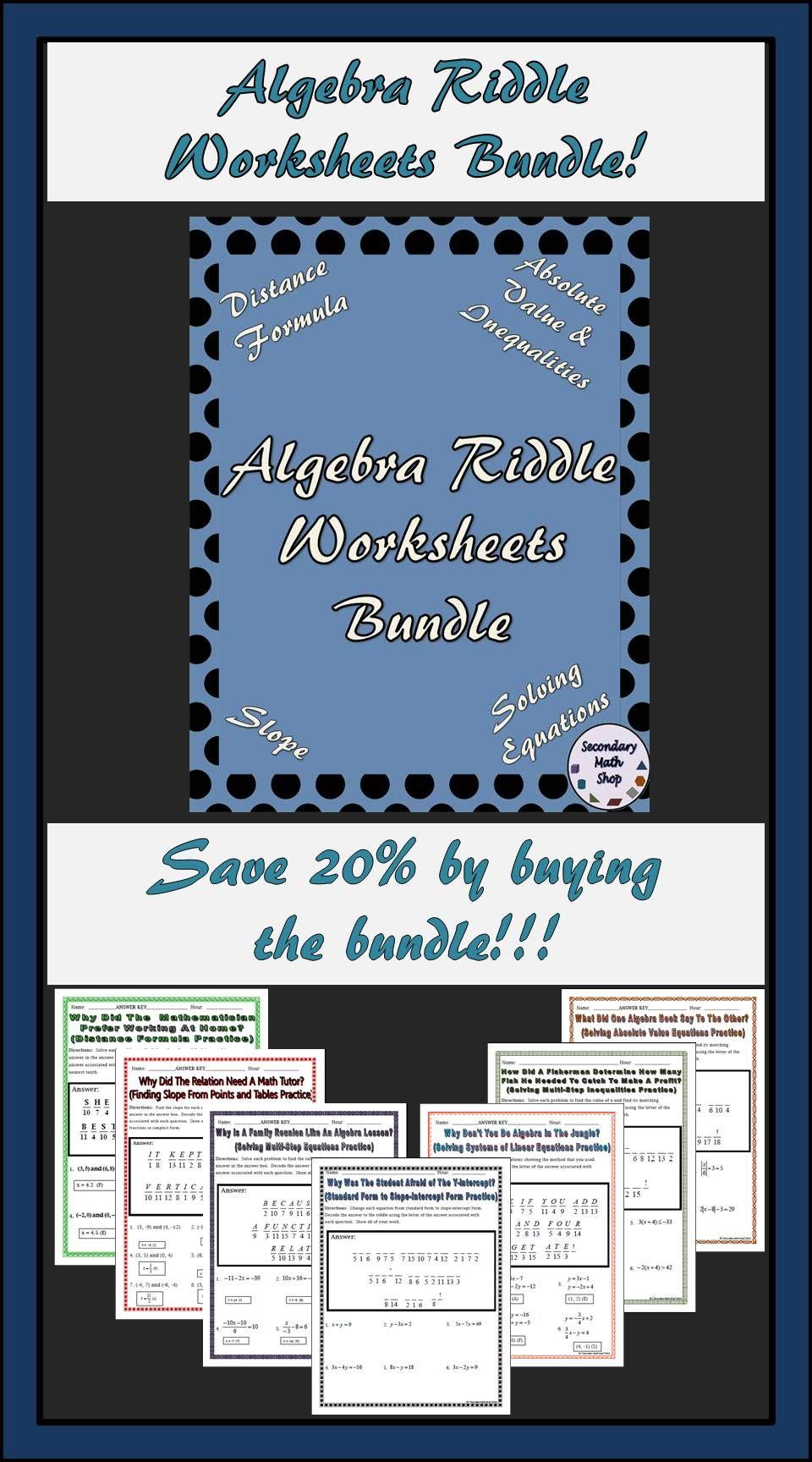 Algebra Riddle Worksheet Money Saving Bundle | Algebra, Worksheets ...
