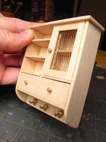 Dollhouse Miniature Furniture - Tutorials | 1 inch minis: 1 INCH SCALE HANGING WALL CABINET MADE FROM BASSWOOD -- How to make a 1 inch scale hanging wooden wall cabinet for your dollhouse. #dollhouseminiaturetutorials
