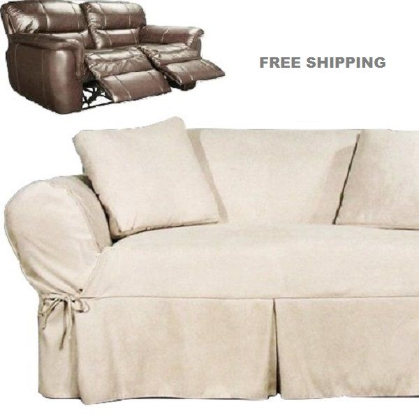 Dual Reclining Loveseat Slipcover Heavy Suede Ivory Sure Fit Cover