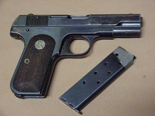 "The model 1903 was a semi-automatic pistol manufactured by Colt Firearms in the United States. Used by U.S. servicemen, the M1903 and the later variant M1908 both used a hammer in their function.  The hammer  was unseen, as it lay beneath the slide component; hence the name ""Hammerless"". It was a single-action weapon that fired .32 ACP out of an eight round detachable cartridge. Its empty weight was .66 kg (1 ½ lbs.)"