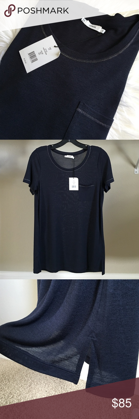 Vince navy blue tee shirt Soft comfy knit tee shirt in navy blue with silver threads top stitches on neckline, sleeves and pocket. Current style, brand me with tag. Vince Tops Tees - Short Sleeve