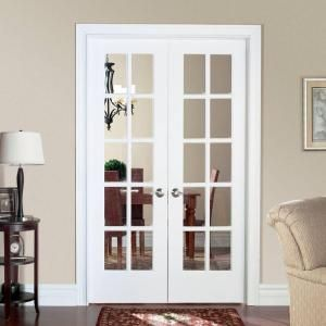 Masonite 48 In X 80 In Smooth 10 Lite Solid Core Primed Pine Prehung Interior Frenc French Doors Interior Prehung Interior French Doors Double Doors Interior