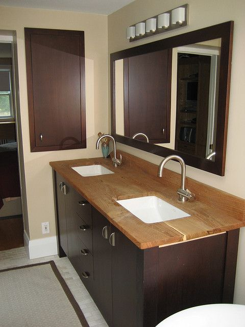 Eco friendly kitchen bathroom counters for the home - Butcher block countertops in bathroom ...