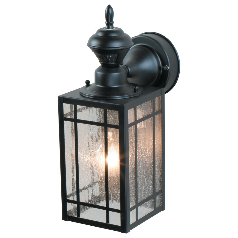 Heath Zenith 1 Light Black Motion Activated Outdoor Wall Lantern