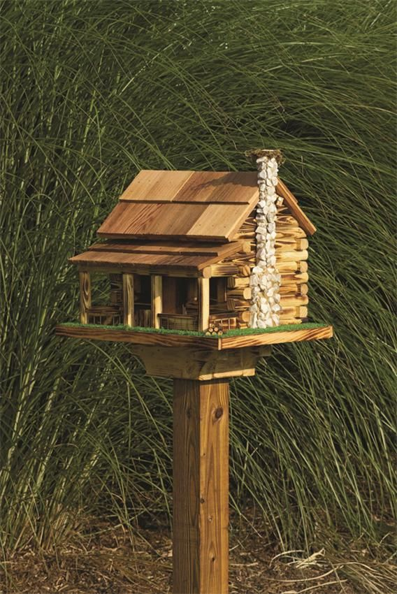Amish log cabin garden bird feeder with rock chimney - Bird feeder garden designs ...