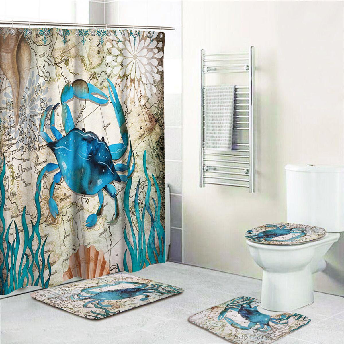 Us 12 50 Krabben Druck Badezimmer Duschvorhang Toiletten