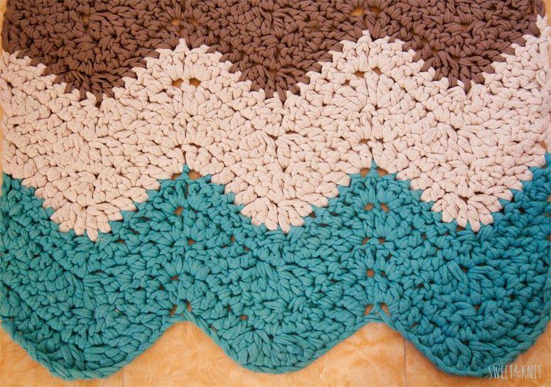 Sweet&Knit: Tutorial de Alfombra de Ganchillo XXL Rectangular Ripple ...