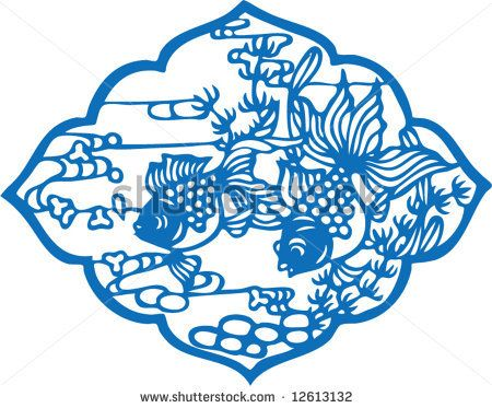 Vector of traditional Chinese Paper-cut for Spring Festaval - stock vector