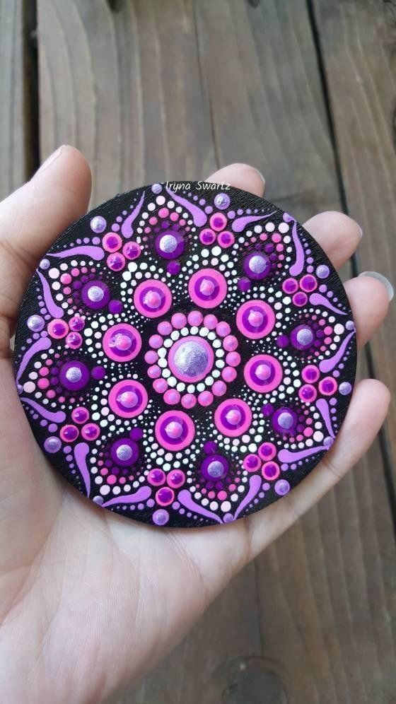 Photo of Mandala wood magnet, handpainted wood magnets, home decor, mandala style, gift idea, wood art, mandala magnet