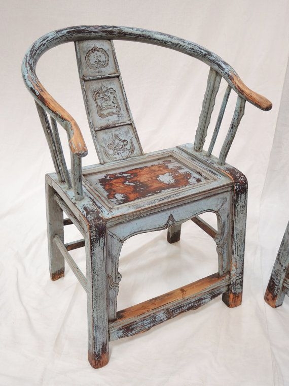 Great Antique Painted Chinese Horseshoe Chair By Terra Nova Furniture Los Angeles  On Etsy, $278.00