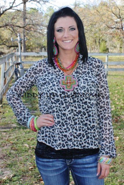 Cheetaholic Grey Sheer Top  $24.95  http://www.giddyupglamouronline.com/catalog.php?item=6795