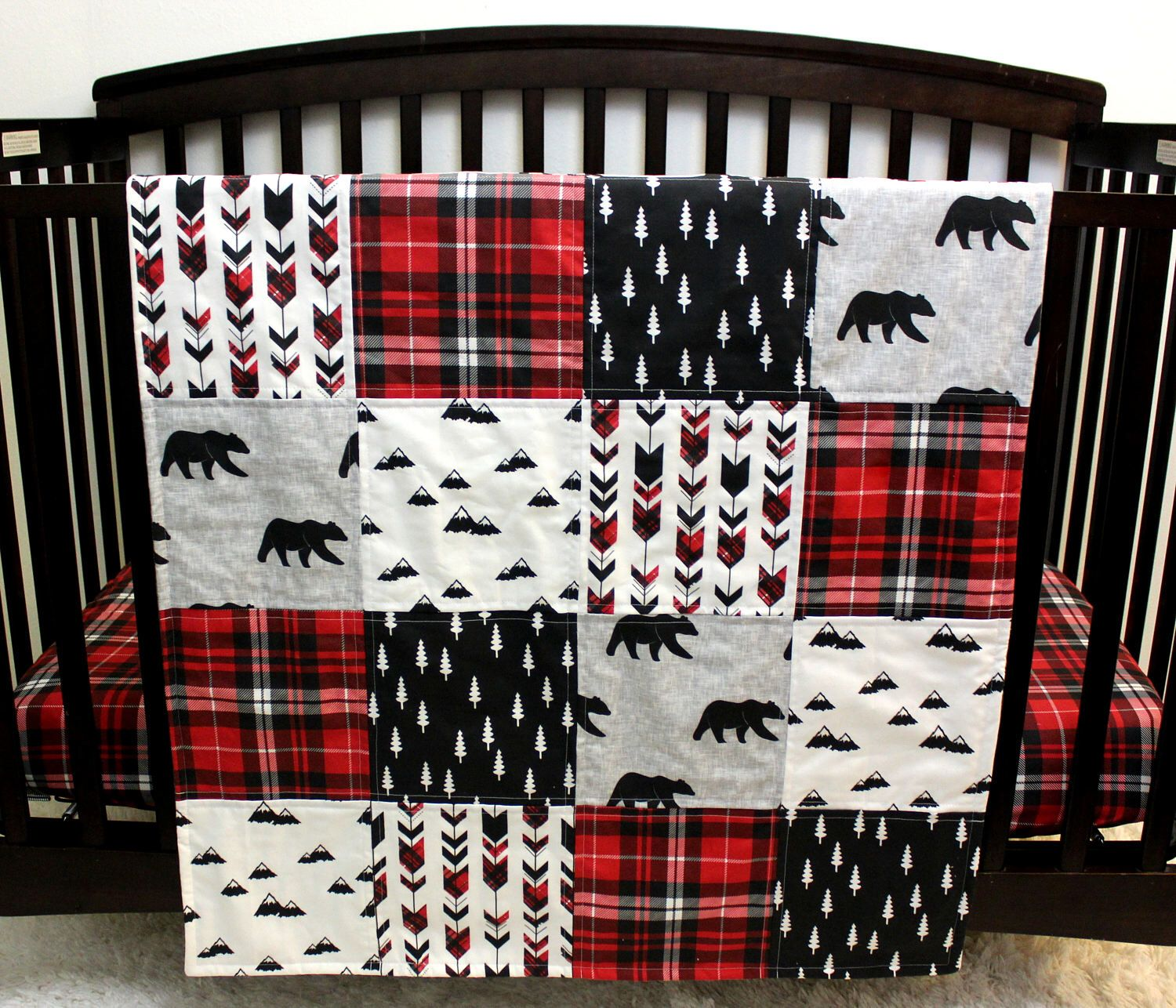 tan buffalo crib black pin and plaid shot cribs red bedding in deer through the