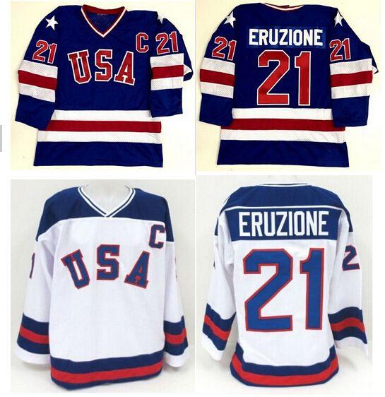 1980 Milagro En Team Usa 21 Mike Eruzione Hockey Jerseys Azul Blanco Cosido Ee Uu Hockey Jerseys S Xxxl Envio G Usa Hockey Usa Hockey Jersey Ice Hockey Jersey