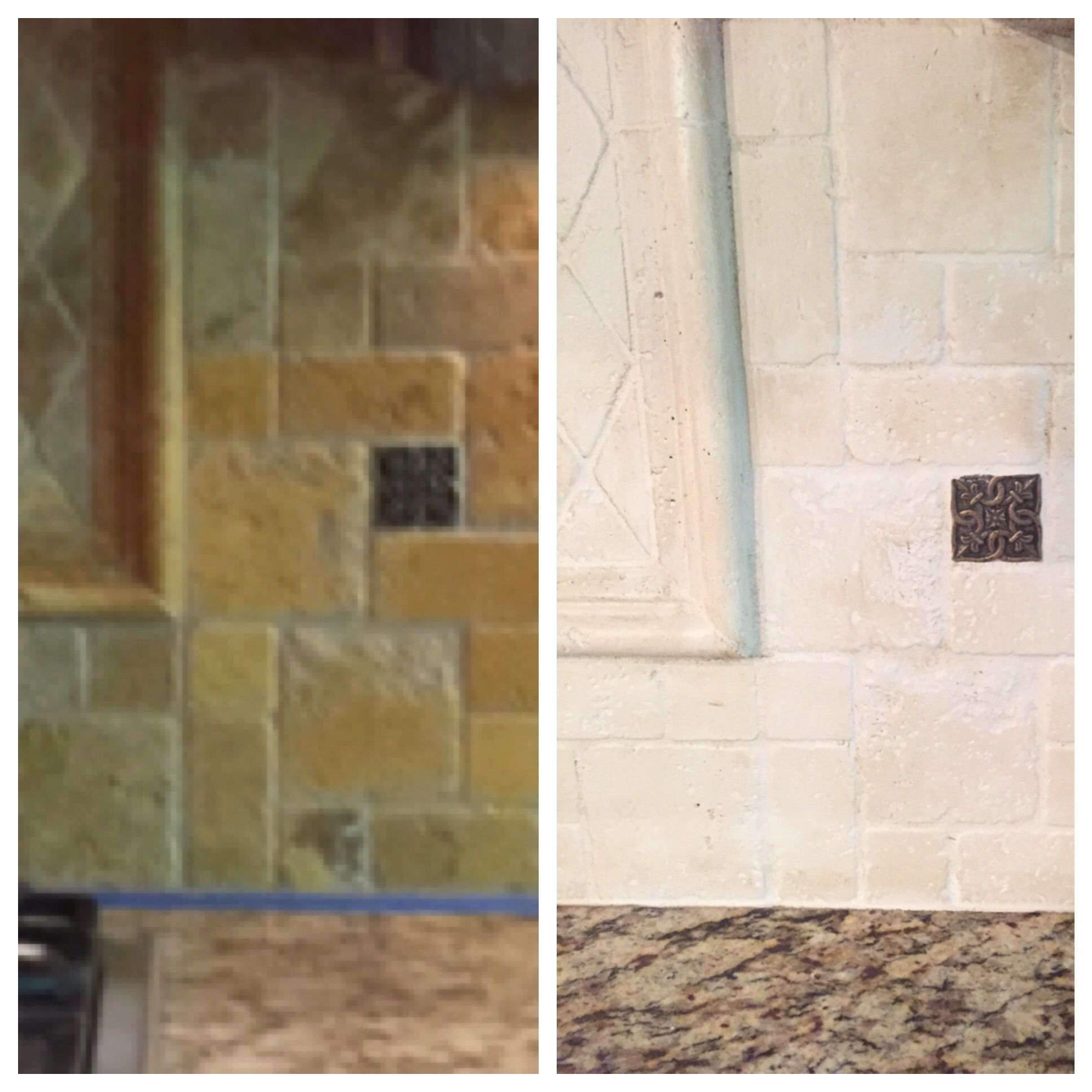 The Kitchen Lighten Up Painting A Tumbled Stone Backsplash Eek Stone Backsplash Stone Tile Backsplash Kitchen Paint Backsplash