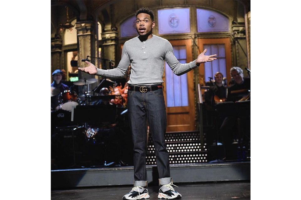 010846b18 Watch Chance The Rapper Rock YEEZY Wave Runner 700s Hosting  SNL ...