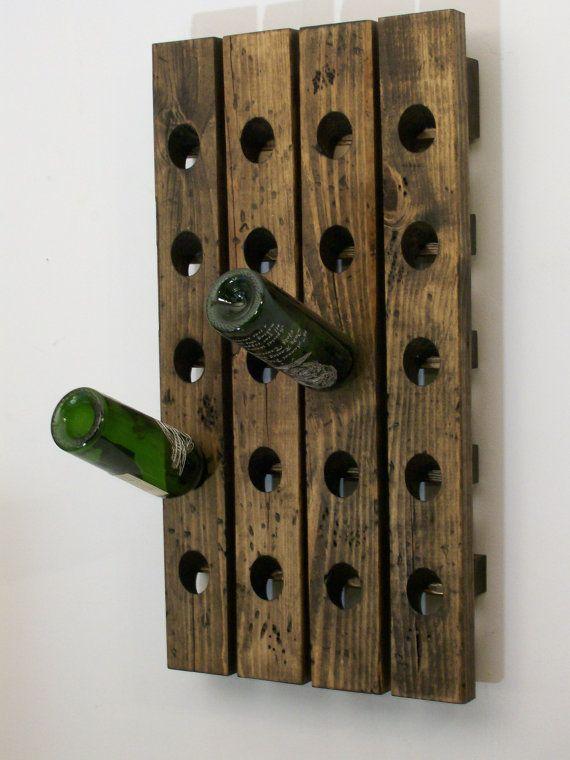 wine rack distressed wood country style wine bottle display diy pinterest regal. Black Bedroom Furniture Sets. Home Design Ideas