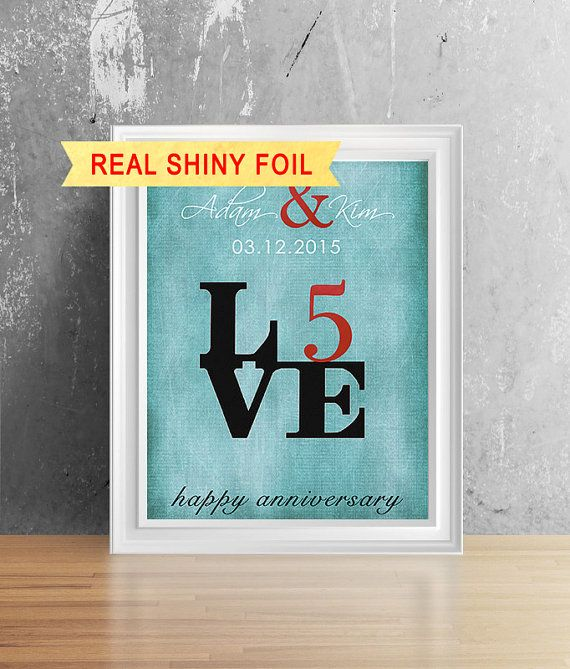 Shiny Foil Print 5 Year Anniversary For Him Her 5th Anniversary